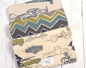 Transportation Burp Cloths - Set of 3 Super Absorbent Triple Layer Chenille - Blue, Green - Retro Rides, See Saw Chevron &  Vintage Planes