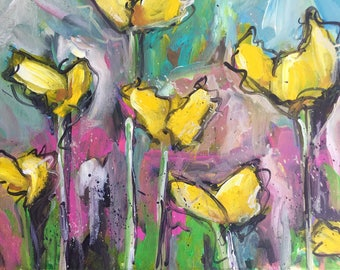 Abstract floral painting  Flower Art shabby chic home decor  flower garden  expressionism boho farmhouse style