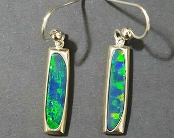 Australian opal earrings in Argentium 935 silver