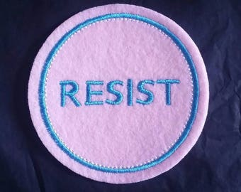 RESIST transgender flag colors  iron on patch applique embroidered with pink felt and white and light blue embroidery thread