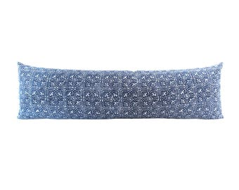 Hmong Indigo Hand Block Batik Textile Flower Pattern Long Lumbar Zipper Pillow - Bohemian Long Lumbar Pillow - Down Filler Included