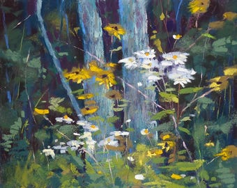 FOREST Trees wildflowers Landscape Original Pastel Painting Karen Margulis 8x10