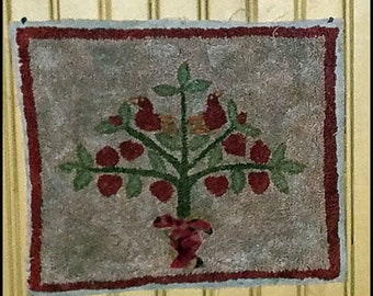 Primitive Punch Needle Mat Miniature Rug Wall Hanging Tree Birds  FINISHED Hand Made Fiber Art Needlework Hickety Pickety FREE SHIPPING