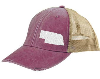 Distressed Snapback Trucker Hat -  Nebraska off-center state pride hat - Many Colors available
