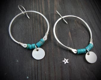turquoise rising ... sterling hoops