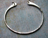 Hammered Bright Sterling Silver Open Hoop Pendant - 1 piece - 42 by 40mm