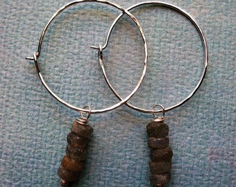 Hammered Sterling Silver and Frosted Labradorite Hoops