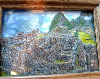 Painted with Pastels Machu Picchu in Oak Frame