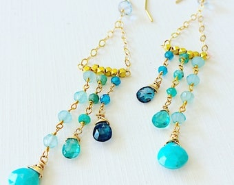 Amazonite, Blue Topaz, Kyanite, and Apatite Chain Chandelier Earrings