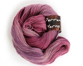 Pure yak yarn, 100% yak handdyed sportweight knitting crochet Perran Yarns Blackcurrant Sorbet purple variegated yarn, free knitting pattern