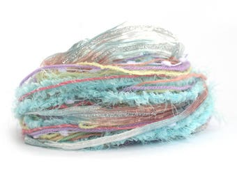 Specialty Yarn Inspiration Pack, Unicorn Clouds, 30 metres assorted yarns bundle, mixed media supplies, textile arts, pastel rainbow, uk