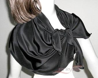 "Black Silk Scarf Petite Small Shoulder Wrap, Natural Crepe Silk 17"" x 40"" S XS Size 0 2 4 6, Artisan Handmade, Artinsilk, Ready to Ship."