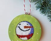 christmas cheer...ornament...original punch needle...snowman