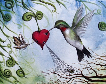 Nectar Of The Heart - 11x14 Art Print - Surreal Hummingbird, Moth and Spider With Heart of Nectar - Art by Marcia Furman