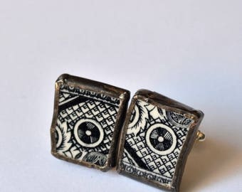 SUMMER SALE Broken China Cuff Links - Black and White