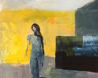 painting of a woman abstract figurative yellow and indigo blue paynes grey original painting yellow art pamela munger