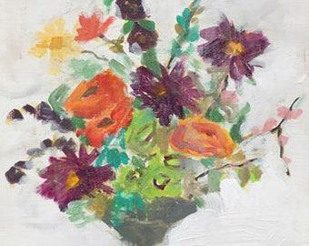 original flower painting on art paper 9x12 contemporary art design floral art multi colored flowers orange and purple