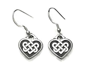 Celtic Love Knot Hearts Dangle Earrings Pewter with Sterling Silver Earwires Gift Boxed