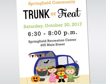 Trunk or Treat Invitation - Custom Digital Printable Halloween Party Invitation - Great for churches, clubs, neighborhoods