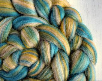 Merino Roving - Blended Roving - Blended Wool Tops - Spinning Fibre - Merino Tops - Blended Wool - Felt Making - Blue, Yellow, Grey 100g
