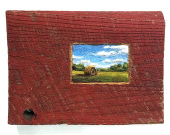 Hay Bale in Red Barn Wood