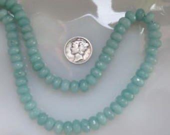 Aqua Blue Jade Faceted Rondelle Beads 5x8mm Half Strand