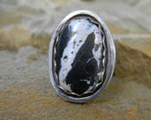 Natural White Buffalo Ring - sterling silver - Size 8.5