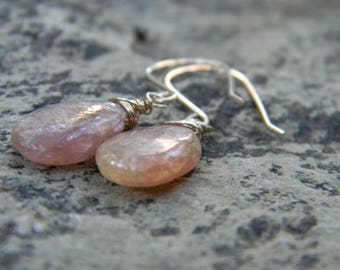 Gold wrapped Pink tourmaline earrings -  14k gold filled earwires