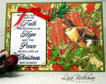 """Card - Christmas - """"Wishing You the Gift of Faith..."""" with bird"""