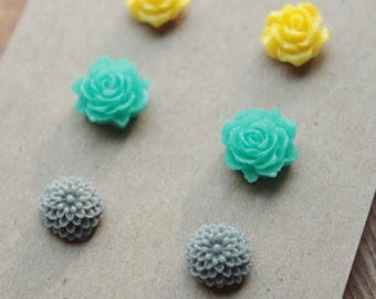 Post Earrings - 3 pairs - Plastic - Surgical Steel - Yellow, Teal, Gray