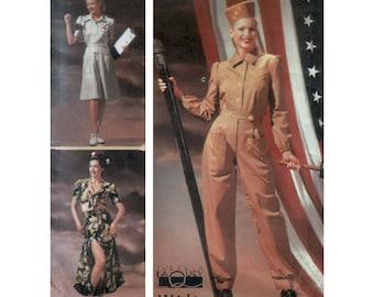 Original uncut 40s Rosie the Riveter Costume pattern size 14-16-18-20 Plus Size Fit and Flare Nurse Dress Midriff Top Dress Simplicity 9978