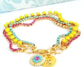 SALE Hand Stamped Initial Swarovski Turquoise Pink Fuchsia Neon Yellow Charm Bracelet