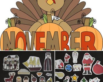 November Story of The Month Flannel Board Stories Felt Set