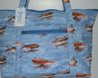 Quilted Fabric Extra Large Tote Bag with Classical Boats