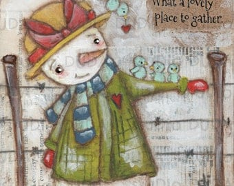 Print of my Original Inspirational Motivational Whimsical Mixed Media Snowman Painting -The Gathering Place