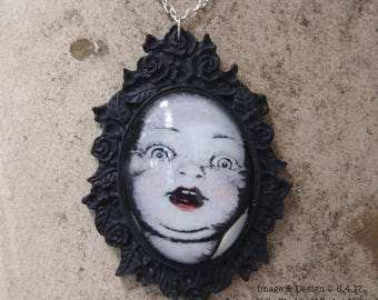 Blue Eye Babydoll Head And Black Rose Cameo Necklace by Ugly Shyla - Ugly Art Dolls - doll jewelry - Gothic - Victorian Gothic
