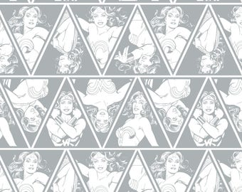 "Wonder Woman 3"" Tall Triangles in GRAY Magenta Licensed DC Camelot Fabric By The Yard"