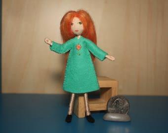 Little Felt Friend doll in pale turquoise dress