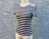 Vintage Lauren by Ralph Lauren Striped T-Shirt, Size Petite / Small - Knit Short Sleeved Top, Retro 90s Style