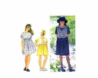SALE Girls Pullover Raised Waist Full Skirt Dress Simplicity 9559 Sewing Pattern Size 8 1/2 thru 16 1/2 UNCUT