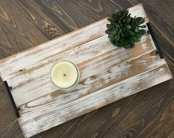 DISTRESSED wood serving tray / modern rustic wood tray