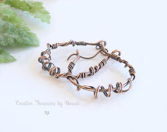 Copper Earrings, Copper Jewelry, Wire Wrapped Earrings, Teardrop Wire Wrapped Earrings, Abstract Earrings, Wire Wrapped Jewelry
