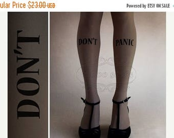ON SALE/// S/M Dark Grey Don't Panic tattoo tights / stockings /  full length  / pantyhose / nylons Dark Grey