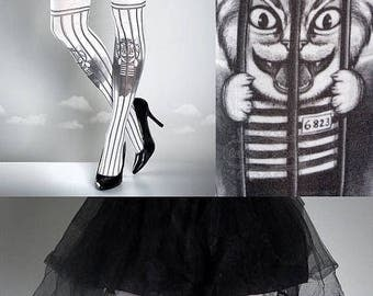 SALE///Happy2018/// Free Pussy Riot Tattoo Tights black&white, printed tights, caged pantyhose, prison, politics, gay rights cat tattoo sock