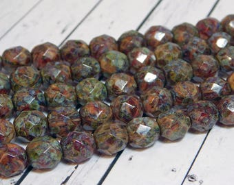 8mm - Fire Polished Beads - Round Beads - Rustic Beads - Czech Picasso Beads - Czech Glass Beads - Red Picasso - 16pcs (974)