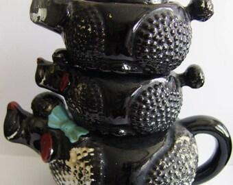 Vintage Redware Black Poodle Dog Stackable Tea Set