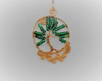 Interchangeable Tree of Life Pendant, Free Domestic Shipping, Kelly Green Beads, Lobster Clasp, Kae1Crafts, Copper Wire, Sun Catcher, Unisex