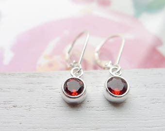 Garnet Drop Earrings Handmade Sterling Silver Dangle Garnet Leverbacks January Birthstone Jewelry Faceted Gemstone Gift