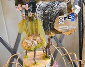 "Beautiful, unique fairy furniture, made from natural & found materials, ""Green Transforms"", 10"" tall, nature art with photo, mounted on box"