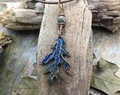 Oak Leaf Necklace, Long Leaf Necklace, Oak Jewelry, Fairy Leaves Pendant, Colored Leaf Jewelry, Pagan Jewelry, Druid Necklace, Oak Tree